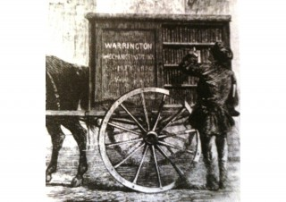 Not all bookmobiles are involved in book printing. This is the Warrington Perambulating Library, ca 1859. (By Unknown - Orton, Ian (1980). An Illustrated History of Mobile Library Services in the UK with notes on Travelling Libraries and early Public Library Transport. Sudbury: Branch and Libraries Group of Libtrary Assoc (UK)., Public Domain, https://commons.wikimedia.org/w/index.php?curid=8091170)