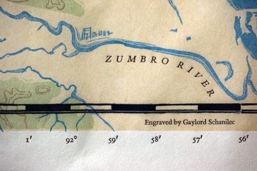 Detail from map accompanying Lac Des Pleurs. Map is printed from wood engravings, labels are letterpress.