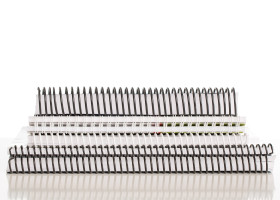 Plastic spiral and wire-o binding is available, in black or white.