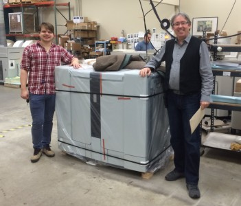 The perfecting unit of our first Océ 6320 high speed monochrome press. On the left is David Bilotta, Pressroom Supervisor; on the right, Dieter Slezak, Operations Manager.