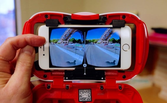 A Mattel View-Master VR viewer utilizing an Apple iPhone 6 with a VR app. This is a Google Cardboard standard viewer. Like the stereoscope of old, VR viewers capitalize on our primate-heritage binocular vision to produce 3d images.