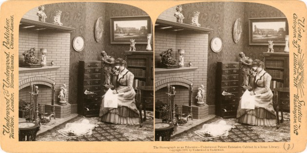 """Stereograph as an educator"" by Underwood & Underwood - Library of Congress Prints and Photographs Division, Stereograph Cards collection. http://hdl.loc.gov/loc.pnp/ppmsca.08781. Licensed under Public Domain via Commons - https://commons.wikimedia.org/wiki/File:Stereograph_as_an_educator.jpg#/media/File:Stereograph_as_an_educator.jpg. Even in 1901 tech enthusiasts made dubious claims for the educational benefits of technology."
